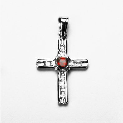 Red and White Crystal Cross Pendant