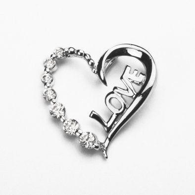 Crystal and Silver Heart of Love Pendant