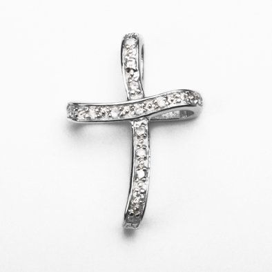 Elegant Crystal and Silver Cross Pendant