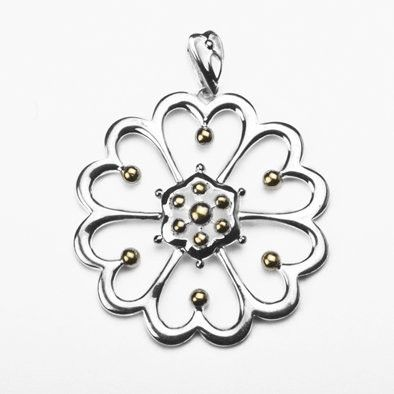 Sterling Silver and Vermeil Large Floral Pendant