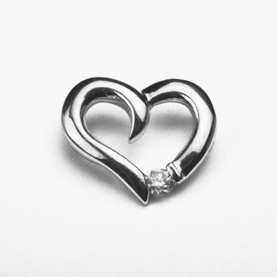 Sterling Heart Pendant with Crystal