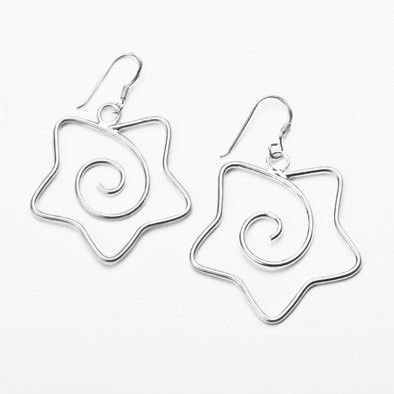Silver Stars and Swirls Earrings
