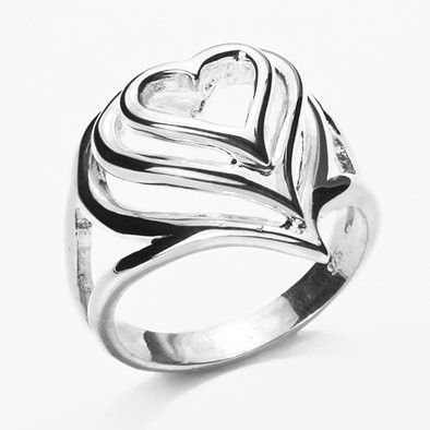 Sterling Silver Heart Layers Ring