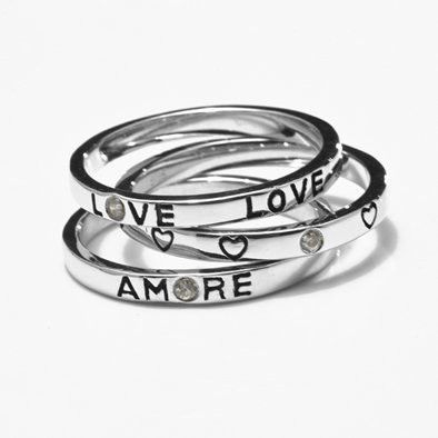Set of Three Silver Amore Ring