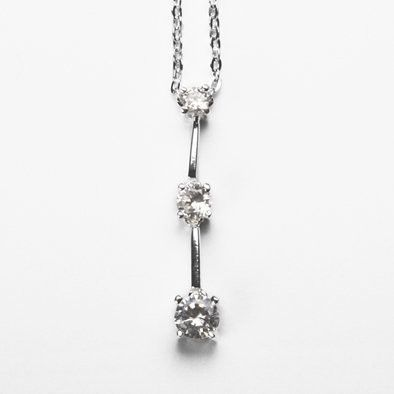 Sterling Silver Tri-Crystal Necklace
