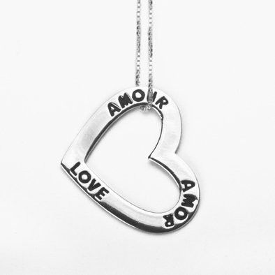 Love in Three Languages Silver Necklace