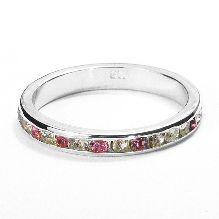 Stackable Pink Tourmaline Eternity Band Ring