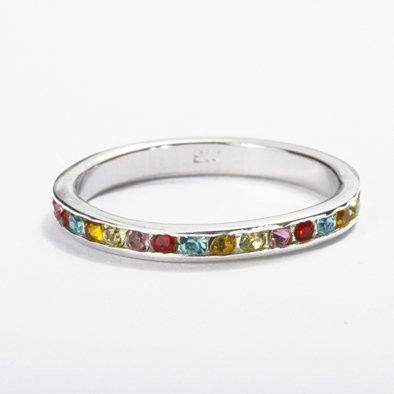 Stackable Multi Color Eternity Band Ring