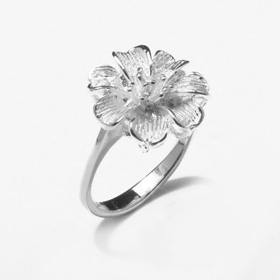 Hibiscus Flower Silver Ring
