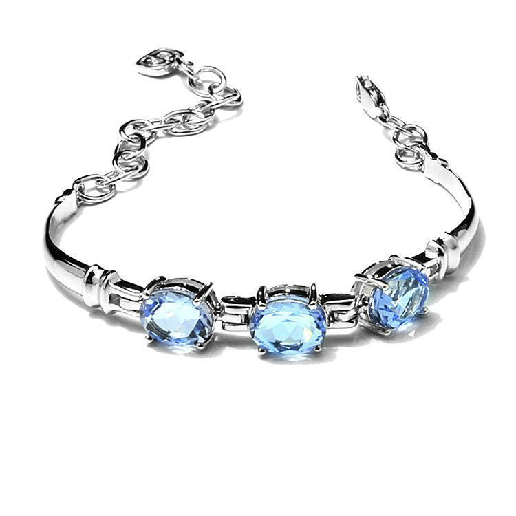 Three Ovals Blue Quartz Bracelet