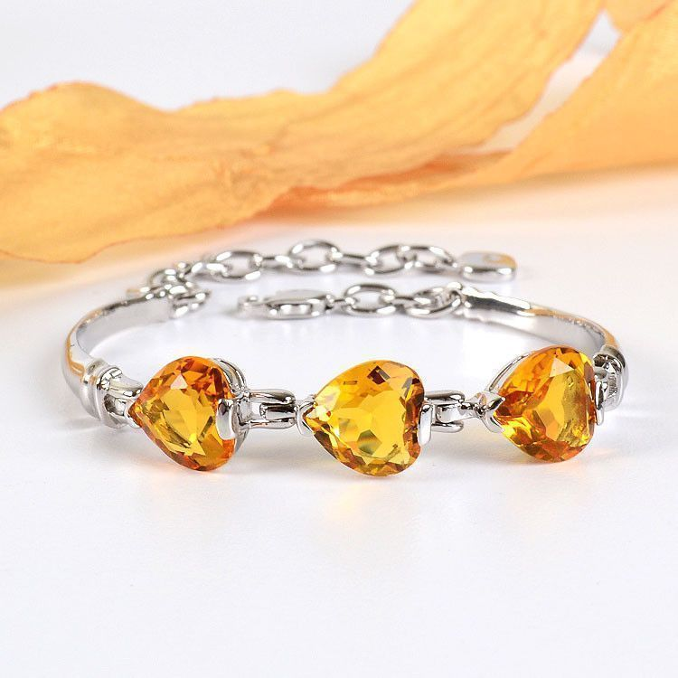 Three Hearts Citrine Bracelet
