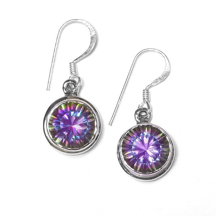 Round Mystic Topaz Hook Earrings