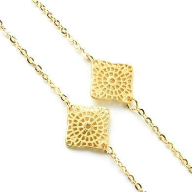 Gold Metallic Squares Necklace and Earrings Set