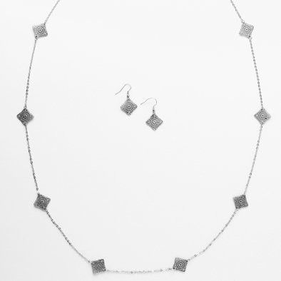 Silver Metallic Squares Necklace and Earrings Set