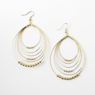 Gold Beaded Multi-Hoop Earrings