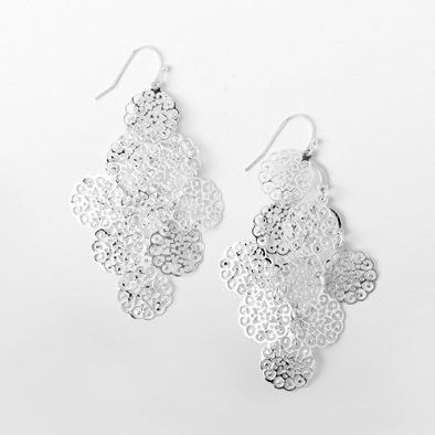 Silver Snowflake Cascade Earrings