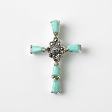 Turquoise Wedge Cross Pendant