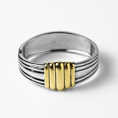 Two-tone Banded Cuff Bracelet