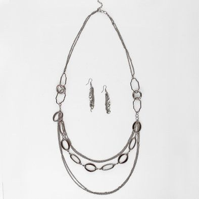 Super Long Dark Silver Chains Necklace and Earrings Set