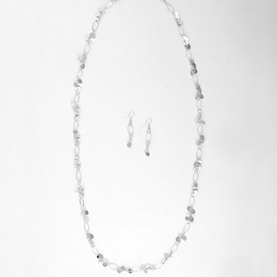 Sparkling Silver Chain Necklace and Earrings Set