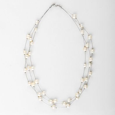 Sweet Freshwater Pearl Floating Necklace
