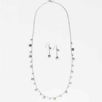Silver Disks Long Chain Necklace and Earrings Set