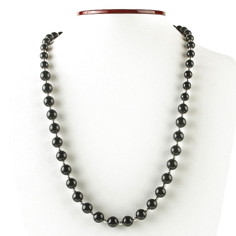 Striking Black Onyx and Silver Beaded Necklace