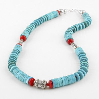 Kingman Turquoise and Red Coral Necklace