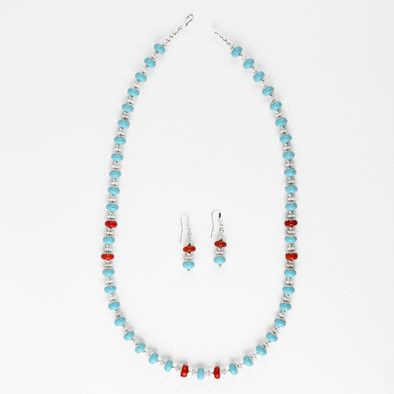 Coral Splash Turquoise Necklace and Earrings Set