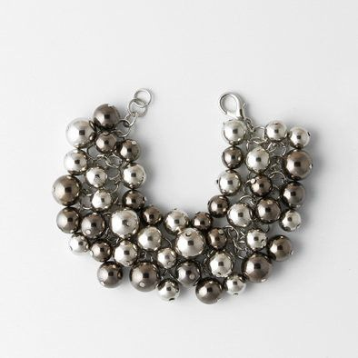 Dark and Light Silver Spheres Bracelet