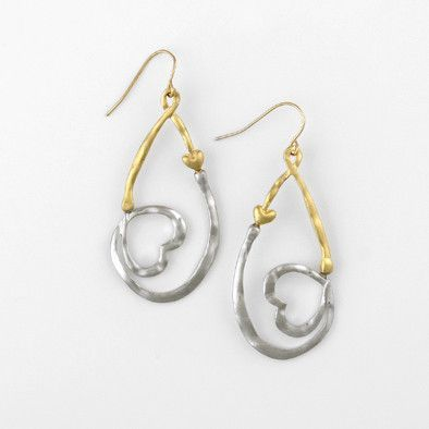 Gold and Silver Teardrop with Heart Earrings