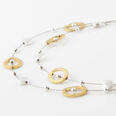 Hammered Gold and Silver Floating Necklace and Earrings Set