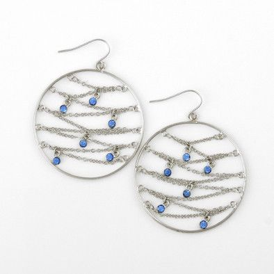 Silver with Blue Rhinestones Earrings