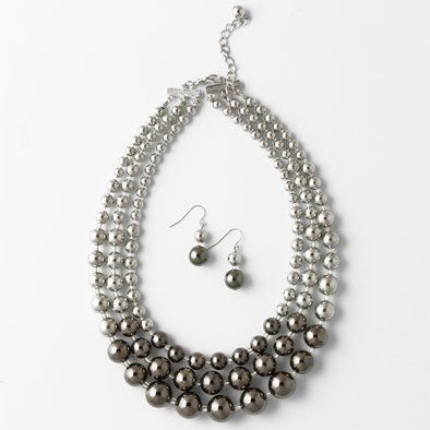 Dark and Light Silver Layered Necklace and Earrings Set