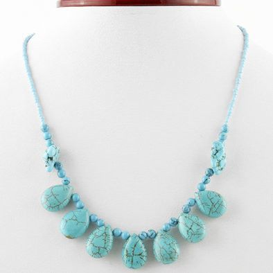 Whimsical Turquoise Teardrop Necklace