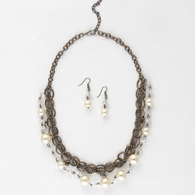Faux Pearl and Crystal Layered Chain Necklace and Earrings Set