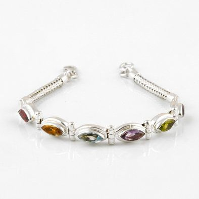 Marquise Multi-colored Gemstone Bracelet