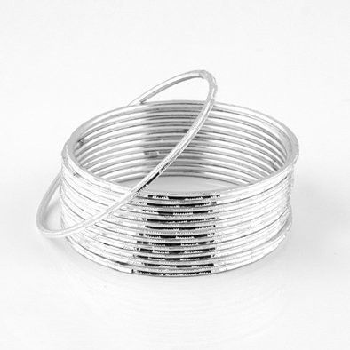 Silver Sparkle Fashion Bangle Bracelet Set