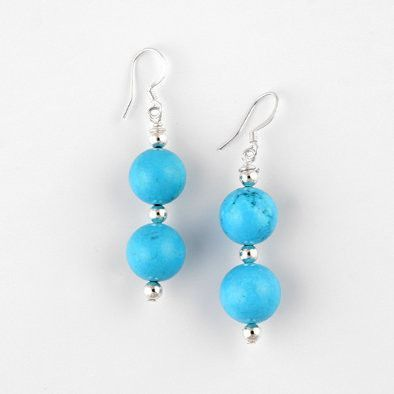 Bright Turquoise Beads Hook Earrings