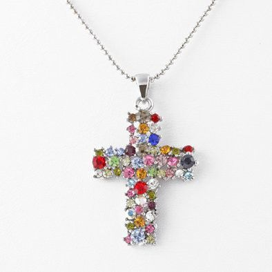 Multi-colored Austrian Crystals Cross Pendant Necklace