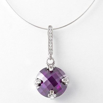 Giant Amethyst CZ Pendant Necklace