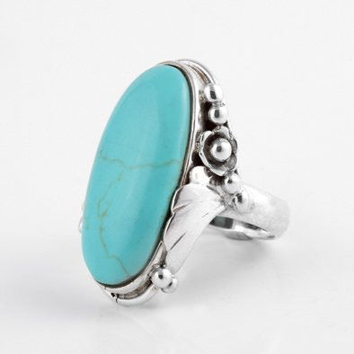 Long Oval Turquoise with Silver Leaf Ring
