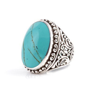 Large Intricate Unisex Turquoise Ring
