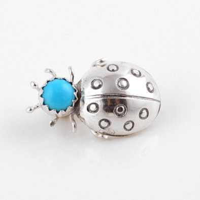 Silver Turquoise Lady Bug Pin