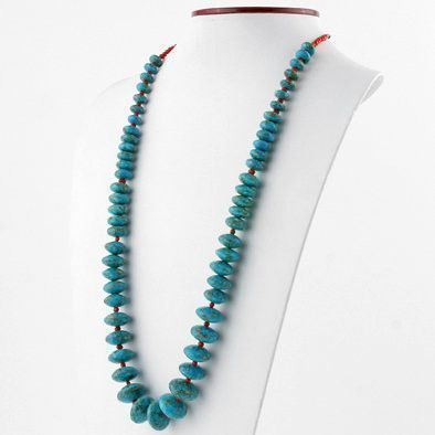 Green Turquoise with Coral Spacers Necklace