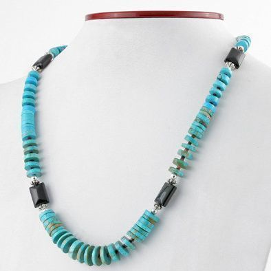 Turquoise Heishi Beads with Jet Necklace