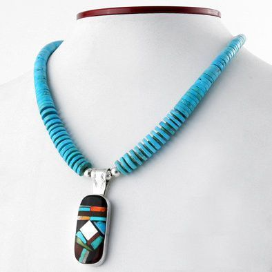 Turquoise Necklace with Zuni Inlay Pendant