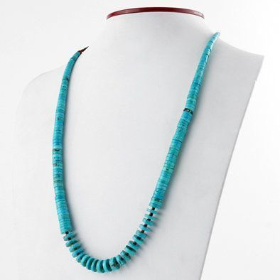 Natural Turquoise Heishi Beaded Necklace
