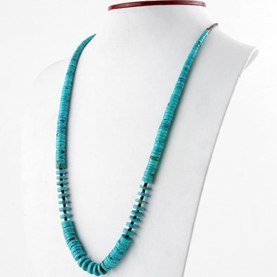 Long Heishi Bead Turquoise Necklace