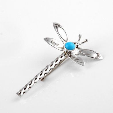 Turquoise Dragonfly Sterling Pin